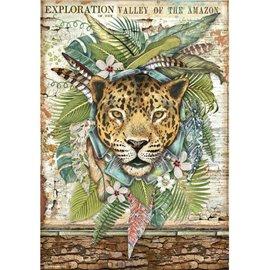 Papier de riz Stamperia A4 Amazonia jaguar