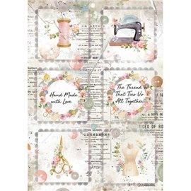 Papier de riz Stamperia A4 Romantic Threads mini cartes