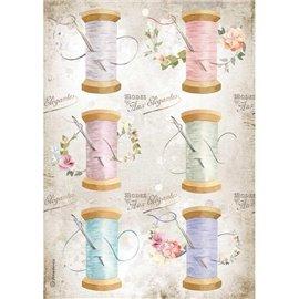 Papier de riz Stamperia A4 Romantic Threads aiguille & fil