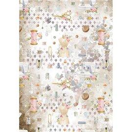 Papier de riz Stamperia A4 Romantic Threads embellissement