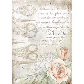 Papier de riz Stamperia A4 Romantic Threads ciseaux et roses