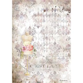 Papier de riz Stamperia A4 Romantic Threads mannequin rose