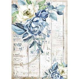 Papier de riz Stamperia A4 Romantic Sea Dream fleur bleue