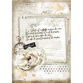 Papier de riz Stamperia A4 Romantic Journal manuscrit et horloge