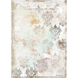 Papier de riz Stamperia A4 Romantic Journal texture avec dentelle