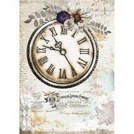 Papier de riz Stamperia A4 Romantic Journal horloge