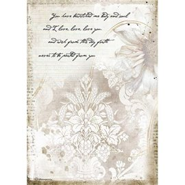 Papier de riz Stamperia A4 Romantic Journal manuscrits