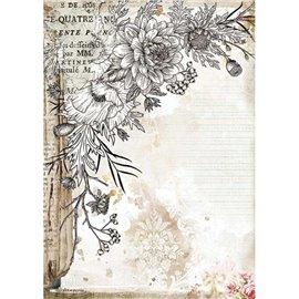 Papier de riz Stamperia A4 Romantic Journal fleur stylisée