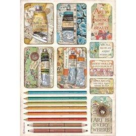 Papier de riz Stamperia A4 Atelier tubes de peintures et de crayons