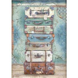 Papier de riz Stamperia A4 Atelier bagages