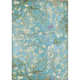 Papier de riz Stamperia A4 Atelier fleuri fond bleu avec papillon