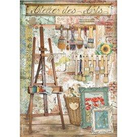 Papier de riz Stamperia A4 Atelier chevalet de l'Atelier des Arts