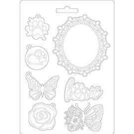 Moule souple soft mould Stamperia Circle of Love cadre et papillon