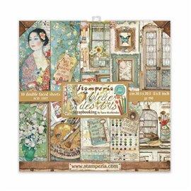 Papier scrapbooking assortiment Stamperia Atelier des Arts  10f 20x20 recto verso