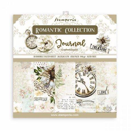 Papier scrapbooking assortiment Stamperia Romantic Journal  10f 20x20 recto verso