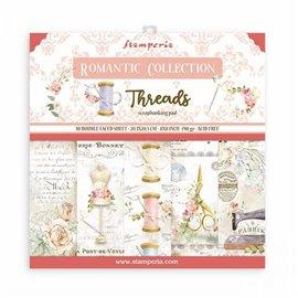 Papier scrapbooking assortiment Stamperia Romantic Threads  10f 20x20 recto verso