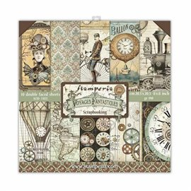 Papier scrapbooking assortiment Stamperia Voyages Fantastiques  10f 20x20 recto verso