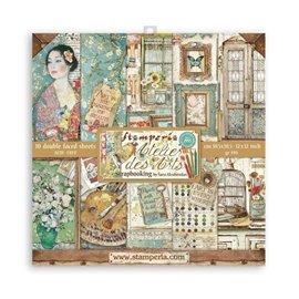 Papier scrapbooking assortiment Stamperia Atelier des Arts 10f 30x30