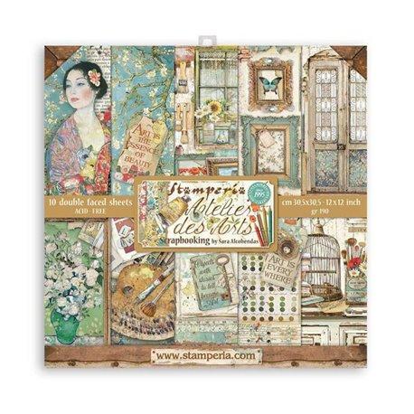 Papier scrapbooking Atelier des Arts assortiment Stamperia 10f 30x30