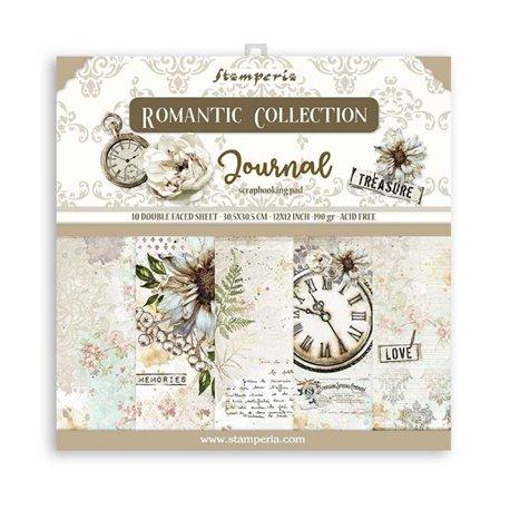 Papier scrapbooking Romantic Journal Stamperia 10f 30x30 assortiment