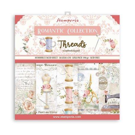 Papier scrapbooking Romantic Threads Stamperia 10f 30x30 assortiment