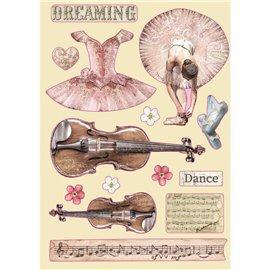 Chipboard bois silhouettes entaillées Passion violon et danse