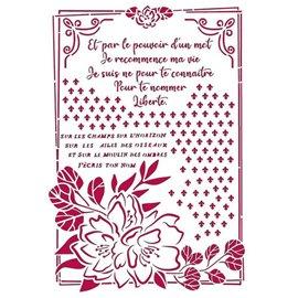 Pochoir décoratif fin Stamperia 21x30cm Romantic Journal fleur avec cadre