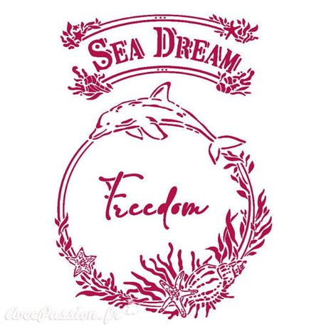 Pochoir décoratif fin Stamperia 21x30cm Romantic Sea Dream freedom