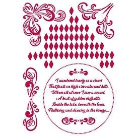 Pochoir décoratif fin Stamperia 21x30cm Romantic Threads angles