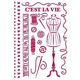 Pochoir décoratif fin Stamperia 21x30cm Romantic Threads couture