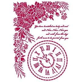 Pochoir décoratif fin Stamperia 21x30cm Romantic Threads horloge