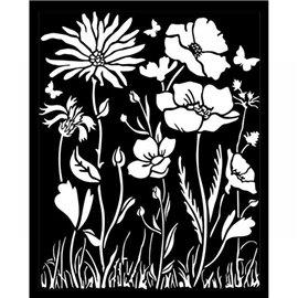 Pochoir décoratif Stamperia 20x25cm Atelier coquelicot et fleur