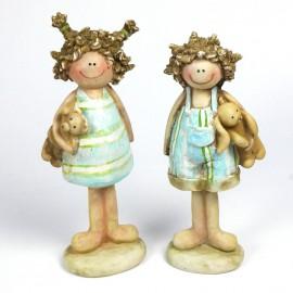 Objet de décoration statuette couple enfant ourson