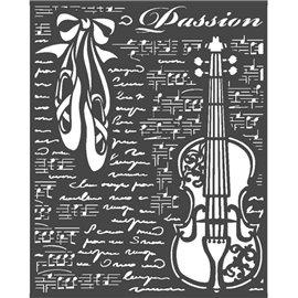 Pochoir décoratif Stamperia 20x25cm Passion violon