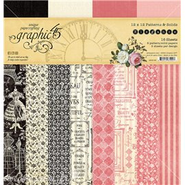 Papier scrapbooking assortiment Graphic 45 Elegance Patterns & Solids Pad 16fe 30x30