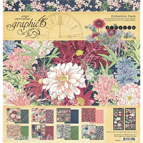 Papier scrapbooking assortiment Graphic 45 Blossom Collection Pack 16fe 30x30