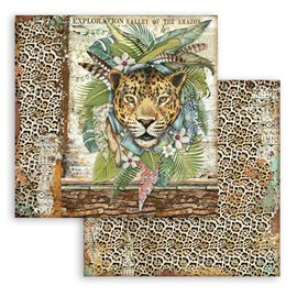 Papier scrapbooking Amazonia jaguar Stamperia 30x30 réversible