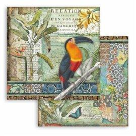 Papier scrapbooking Amazonia toucan Stamperia 30x30 réversible