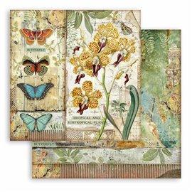 Papier scrapbooking Amazonia orchidée Stamperia 30x30 réversible