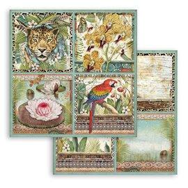 Papier scrapbooking Amazonia cartes Stamperia 30x30 réversible