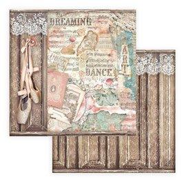 Papier scrapbooking Passion chaussures de ballet Stamperia 30x30 réversible