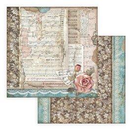 Papier scrapbooking Passion roses et musique Stamperia 30x30 réversible