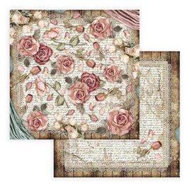 Papier scrapbooking réversible Stamperia Passion roses et dentelles 30x30