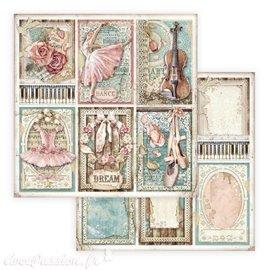 Papier scrapbooking Passion cartes Stamperia 30x30 réversible