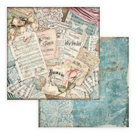 Papier scrapbooking Passion scores Stamperia 30x30 réversible