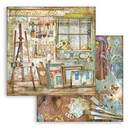 Papier scrapbooking Atelier Stamperia 30x30 réversible