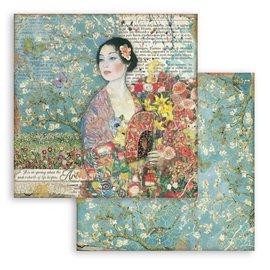Papier scrapbooking Dame avec éventail Stamperia 30x30 réversible