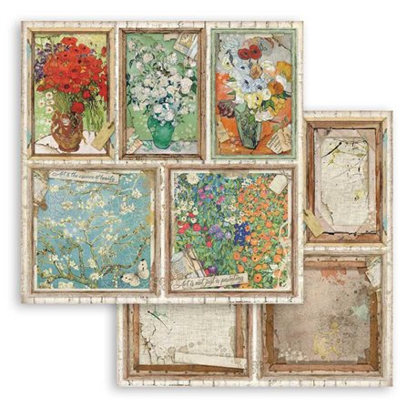 Papier scrapbooking Cartes Stamperia 30x30 réversible