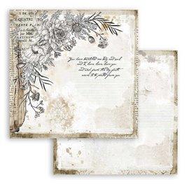 Papier scrapbooking Romantic Journal coin avec fleur Stamperia 30x30 réversible