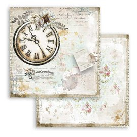Papier scrapbooking Romantic Journal horloge Stamperia 30x30 réversible
